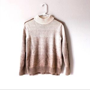 ATHLETA mock neck tan ombre sweater with stripe